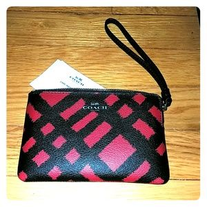 Coach Red plaid wristlet